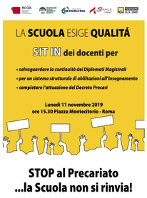 Lunedì 11 novembre 2019 SIT-IN Docenti Precari Roma - Piazza Montecitorio, ore 15.30